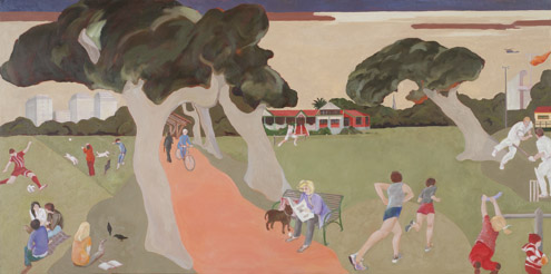 Fawkner Park Melbourne 2012  oil on canvas 61 x 122 cm